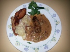 Beef Olives in an Onion- Sour Cream gravy with Scalloped potatoes