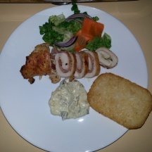 Chicken Roulade stuffed with homemade Boursin Cheese n Bacon served with White Wine-Mustard Cream Sauce